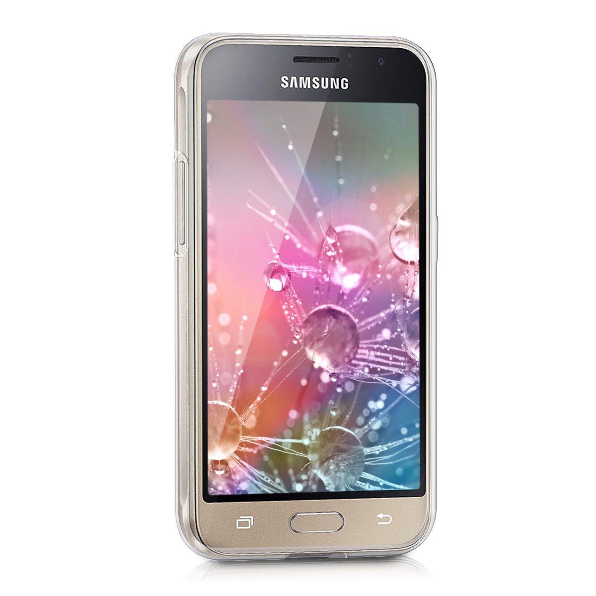 kwmobile Funda para Samsung Galaxy J1 (2016) - Carcasa de [TPU] para móvil y diseño de Girasol Rosa Fucsia/Transparente