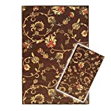 Kapaqua Rubber Backed 2-Piece Area Rug Set Non-Slip Brown Floral 18' x 31' - 3'4' x 5'