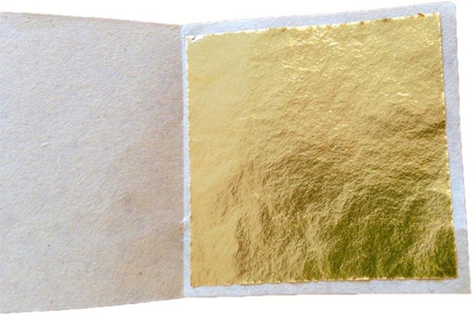 14x14cm Onner 100 Sheets Gold Leaf Imitation Gold Foil Sheet for Arts Gilding Crafting Decoration Golden