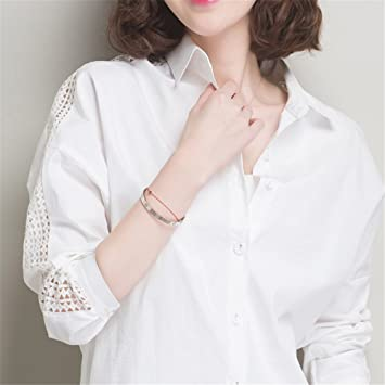 Las camisetas, camisas blancas, camisas blancas, las mujeres de manga larga y simple