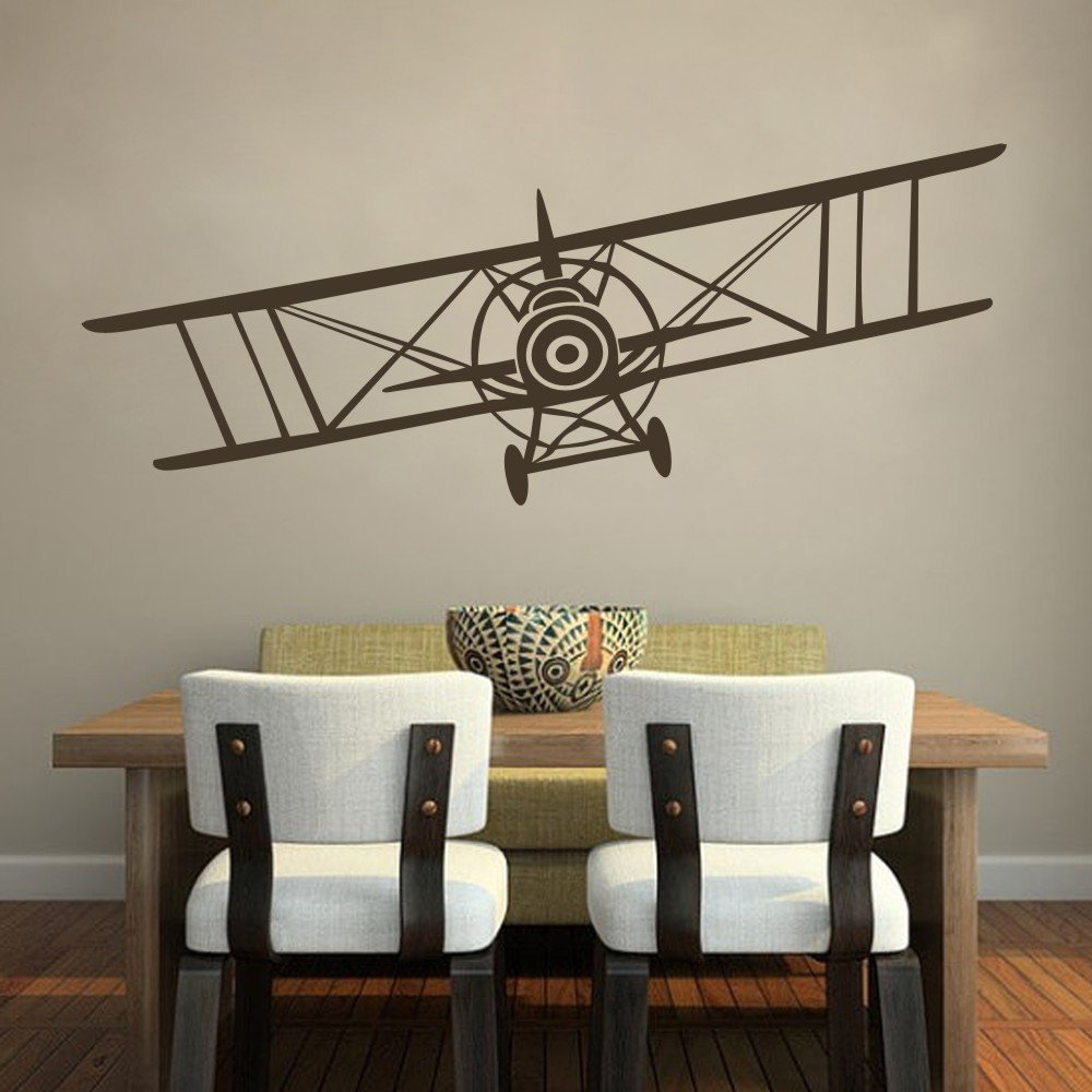 Amazon.com: Vinyl Airplane Wall Decal Biplane Wall Sticker Airplane Wall  Art Decor Nursery Wall Grahpic Wall Mural Boy Room Wall Decoration Dark  Brown: Home ...