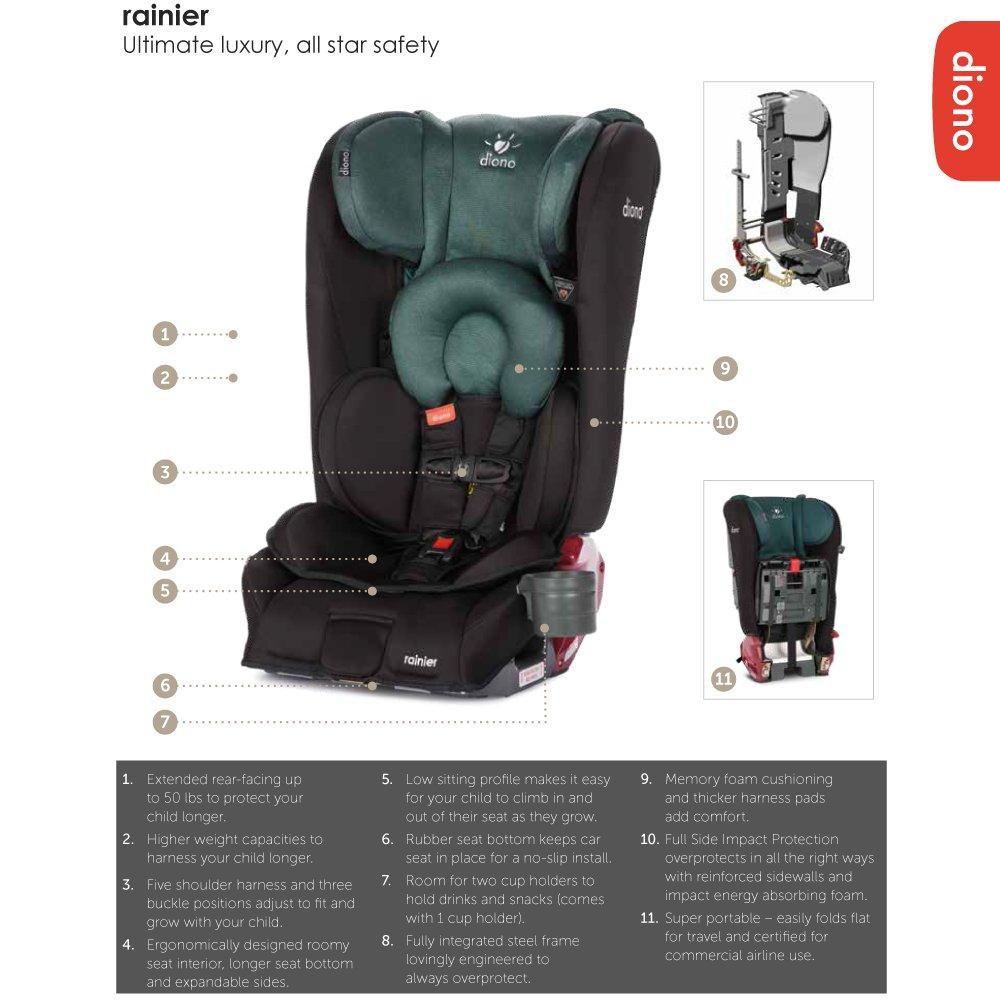 Amazon.com : Diono Rainier All-In-One Convertible Car Seat, Black ...
