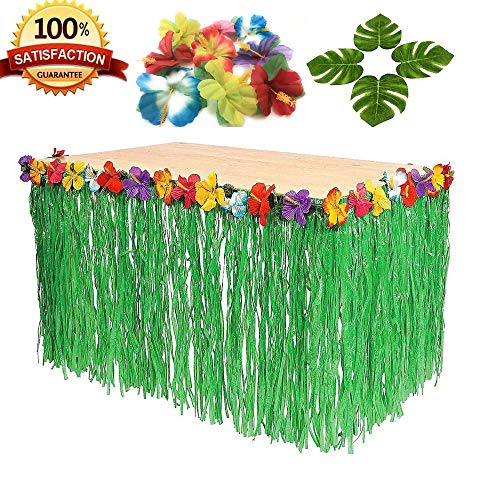 9ft Table Skirt Hawaiian Luau Hibiscus Green Table Grass Skirt with 24pcs Tropical Palm Leaves and 24 Hibiscus Flowers, Party Decorations (1 Table Skirt & 24 Leaves & 24 -