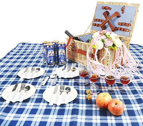 Woworld 4 Person Wicker Picnic Basket Hamper Set with Flatware,Plates,Wine Glasses Includes FREE Picnic Blanket Blue and White Liner