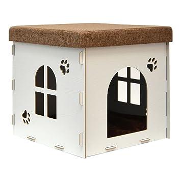 eyepower Caseta pequeña para Perro Gato 38x38x38cm cama caja cuadrada S para mascota con tapa acolchada para sentarse puf escabel Blanco: Amazon.es: Hogar
