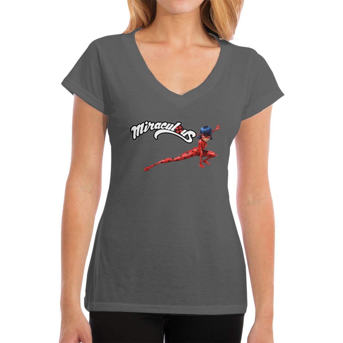 Design Miraculous Ladybug Fashion Short Sleeve For Black Shirts