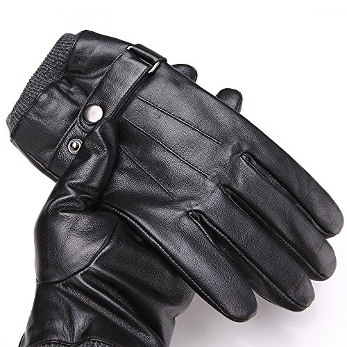 Mens Luxury Touchscreen Italian Nappa Genuine Leather Winter Warm Gloves for Texting Driving Cashmere Lining Blend Cuff (2XL-9.8'', Black) by FLY HAWK (Image #5)