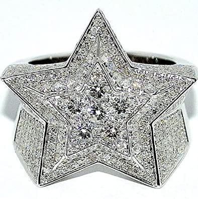 Mens Diamond Ring Star shape 315ctw White gold 5 point star Pinky