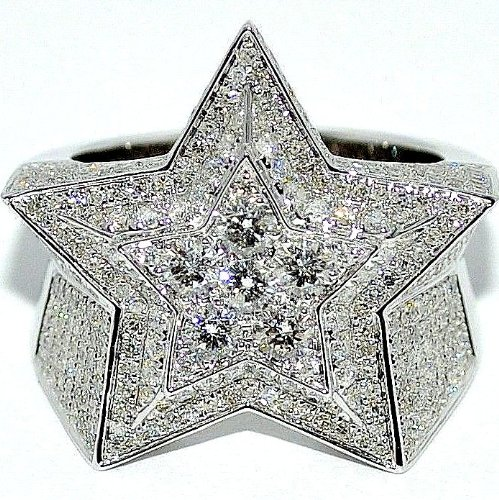 - 5 Point Star Ring White Gold With Diamonds Mens Fashion Pinky Ring Extra Big 3.15ctw 10K White Gold Super Star Ring