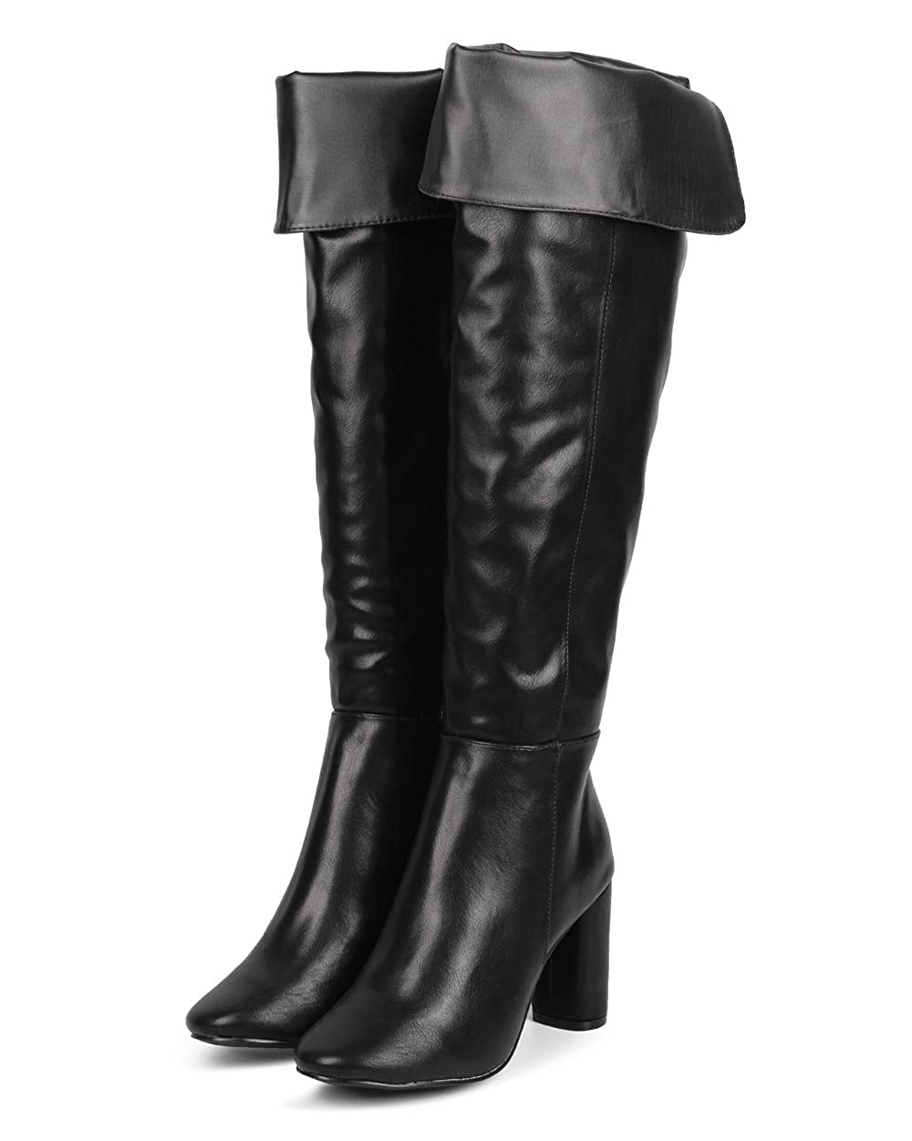 Women's Black Faux Leather Fold Over Knee-High Block Heel Tailored Boot - DeluxeAdultCostumes.com
