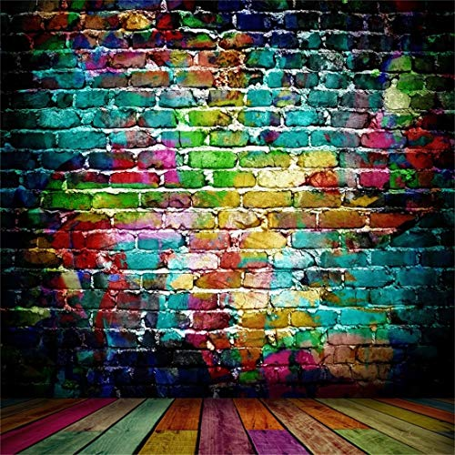 LFEEY 8x8ft Graffiti Brick Wall Photography Background Grunge Colored Texture Backdrop Party Decoration Punk Music Rock Vocal Concert Trendy Hip Hop Stylish Art Portrait Photo Studio -