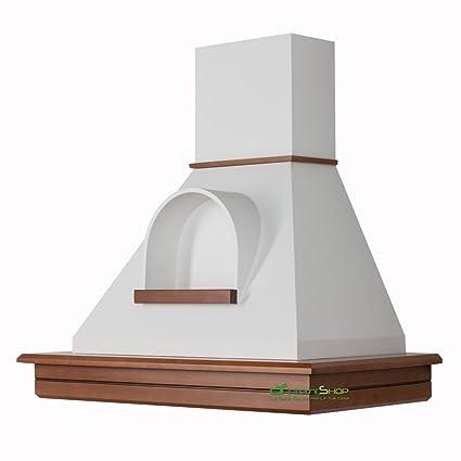 Cappa cucina rustica legno mod.Stock 90 parete -noce biondo cono bianco con  nicchia …