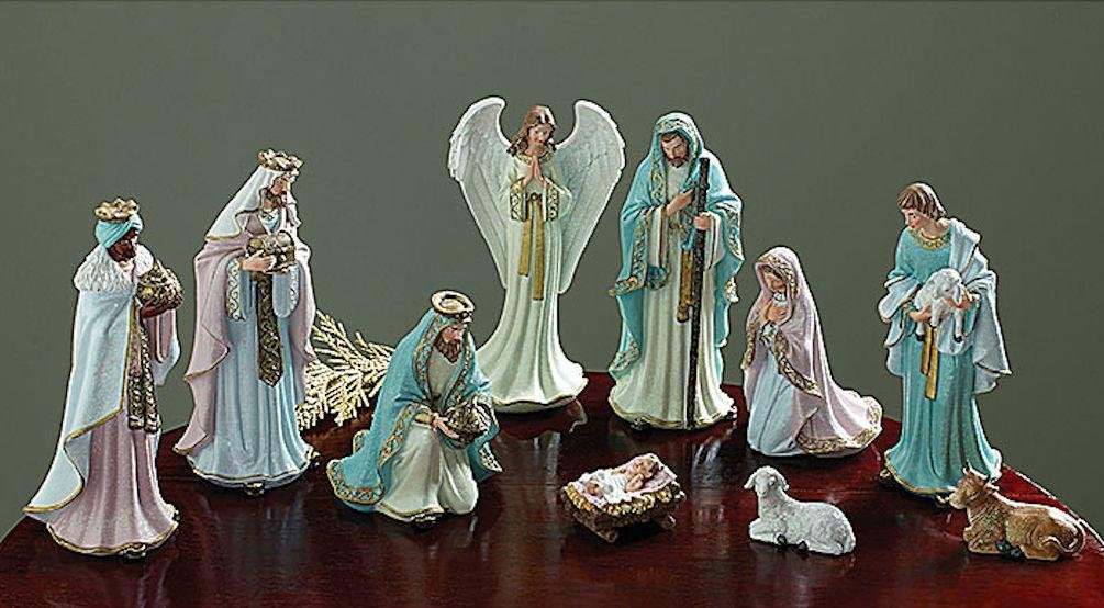 Burton + Burton Victorian Christmas Nativity Set, 10 Pieces, Pastel Colors, 2''-8.75'' Tall