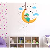 Wallstick 'Baby Moon and Stars' Wall Sticker (Vinyl, 49 cm x 4 cm x 4 cm)