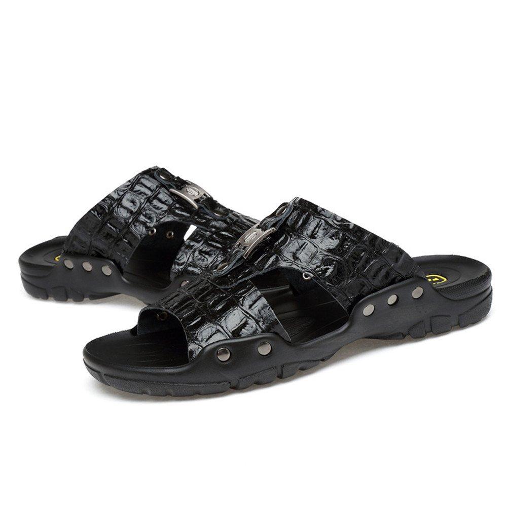 Sharon Zhou Zapatillas de Verano para Hombres de Cuero Genuino Suave Fondo Zapatillas de Playa Ocasionales Antideslizantes Dedos Expuestos adecuados para Exteriores y Salidas y Natación (38-50) 47|Black