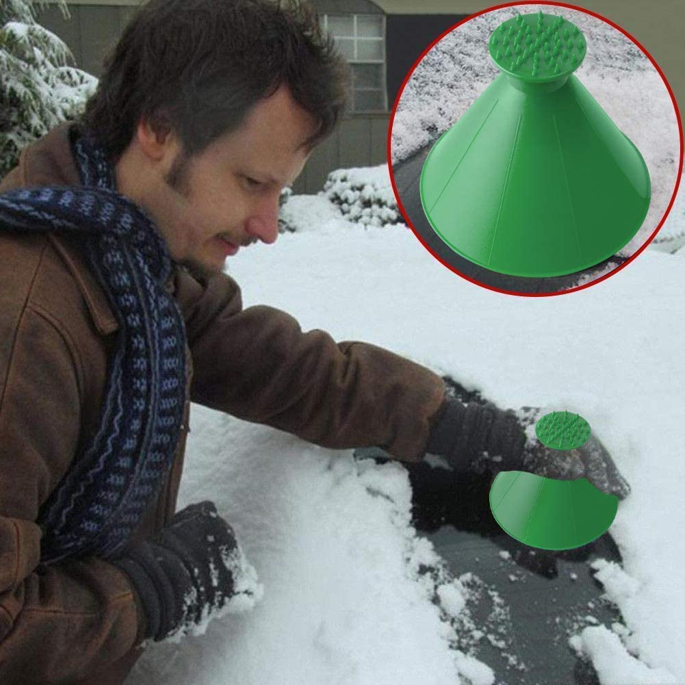 Black Cone 3 In 1 Function Diligencer Magical Ice Scrapers Scrape Lce Frost Snow For Cars And Pick Up Trucks Windscreens Side Windows