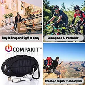 Solar Phone Charger by Compakit | High Capacity 8000 mAh Dual USB Solar Power Bank | Portable External Battery Charger | Universal Compatibility Cell Phone Battery Pack | Perfect Gift for Men & Women