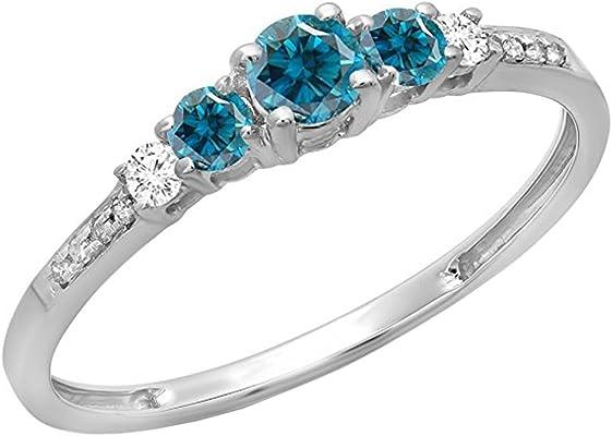 anillo oro blanco con 3 diamantes azules