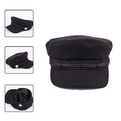 Winter Vintage Hats Women Military Gorras Planas Snapback Caps Casquette Wool Button Beret Sun Octagonal, Black at Amazon Womens Clothing store: