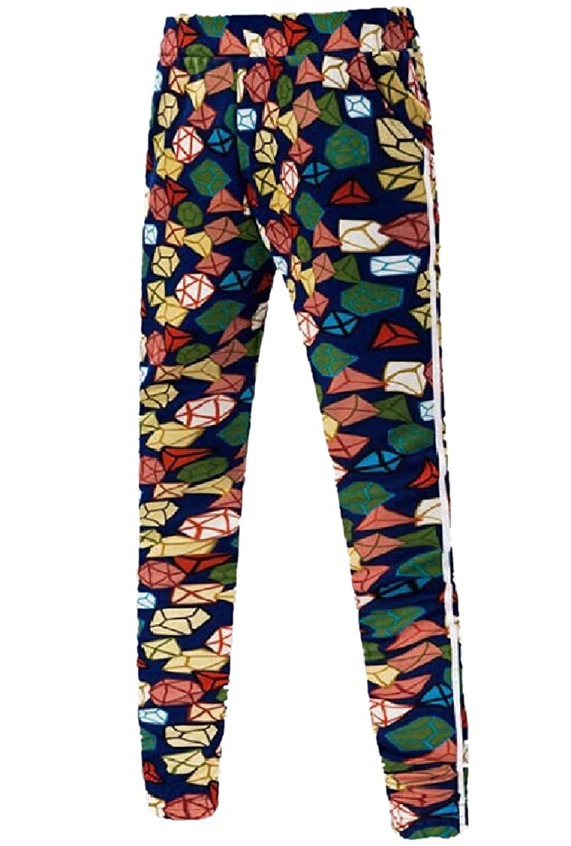 Zimaes-Men Elastic Bottom Skinny Flower Print Elastic Waist Pants