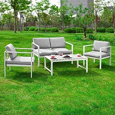 SoBuy® Conjunto Muebles de Jardín, Muebles de Jardin, Conjunto Sofa de Exterior, 4 plazas, OGT06, ES: Amazon.es: Jardín