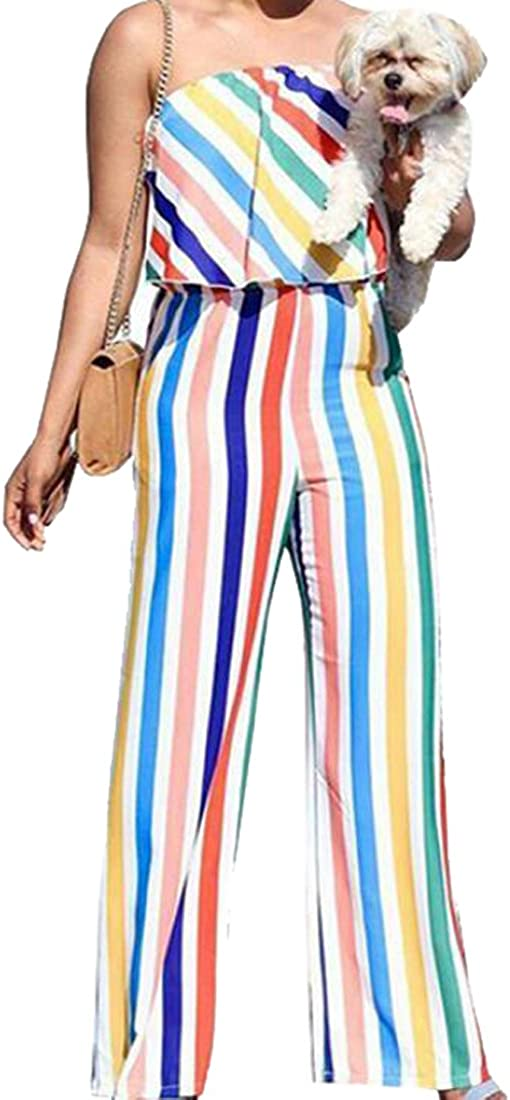 Bravepe Womens Backless Sleeveless Color Block Striped Wide Leg Jumpsuit Romper