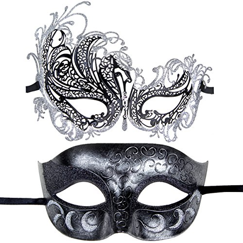 (Couples Pair Half Venetian Masquerade Ball Mask Set Party Costume Accessory)