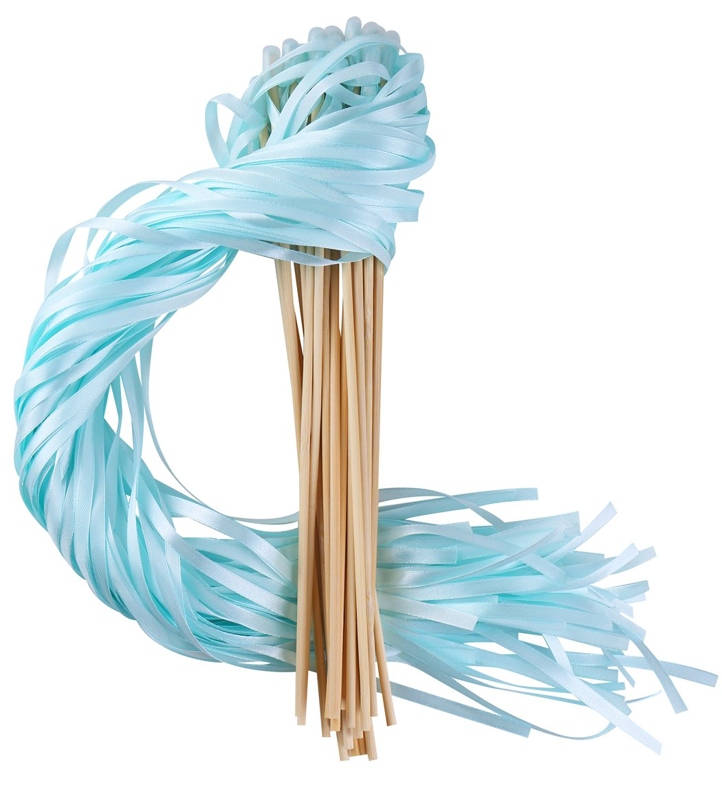 Wishprom Ribbon Wands Sticks Streamers for Wedding Party Favor (Mint-30PCS)