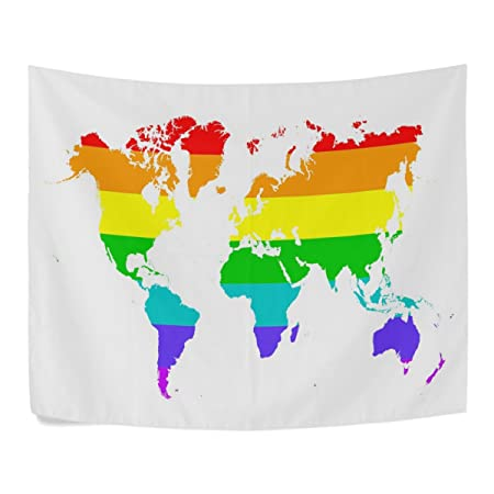 Colorful Rainbow World Map Polyester House Decor Wall Hangings