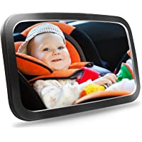 Baby Car Mirror, Yanika Shatterproof Backseat Mirror for Rear Facing Infant in Car or Truck with Redesign Convex Mirror Providing Wide and Clear View 360° Adjustable Super Easy for Installation