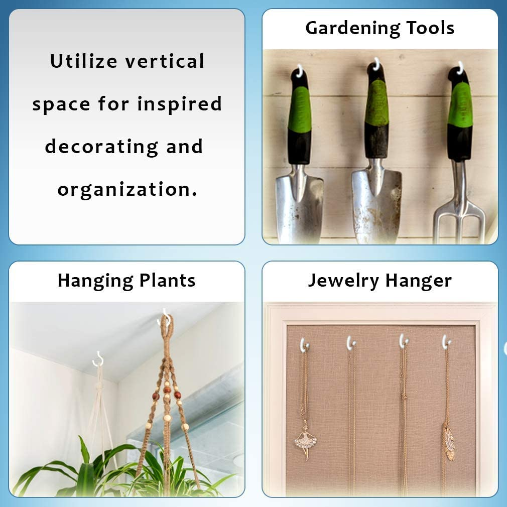 10 Screw Hooks for Hanging Self-Tapping Hook Set Hook Holder for Outdoor-Indoor Bathroom Kitchen Bedroom Supports Macrame Plant Hangers up to 7 lbs. 2 Heavy Duty Ceiling Hooks Wall