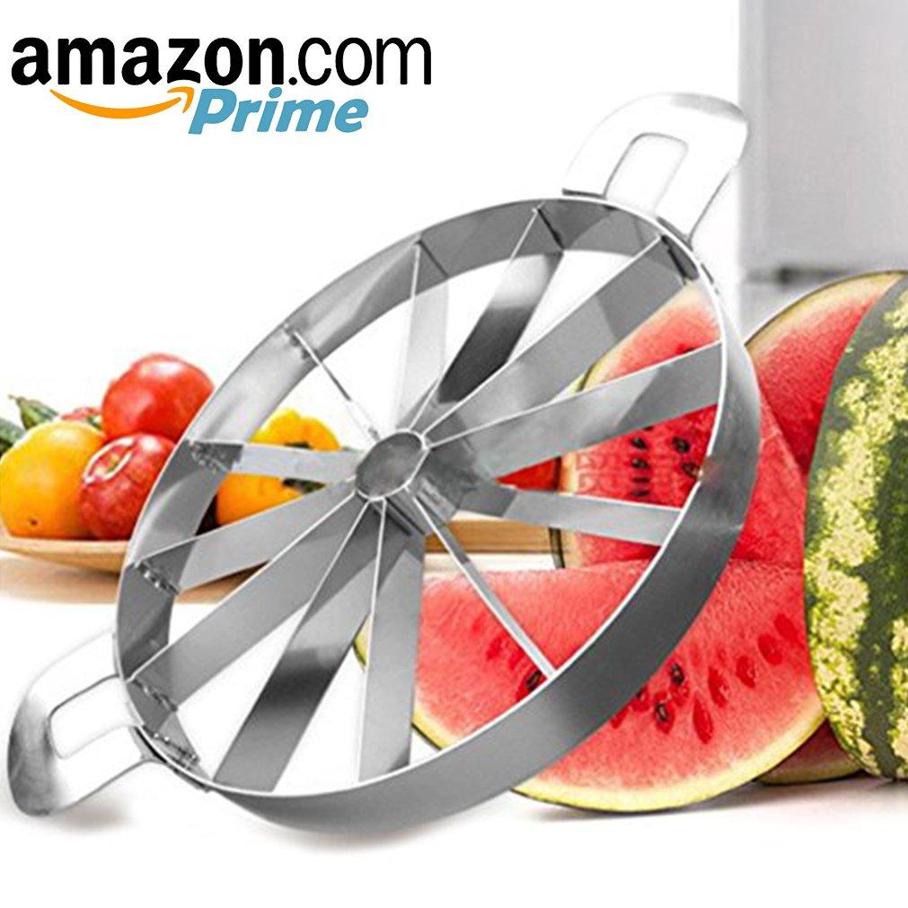 BBoilin Watermelon Slicer, Large Melon Slicer, Cutter, Corer, LargeKitchenStainless Steel Fruit Slicer, 12 Slices, Slices Melons, Watermelon, Pineapple,Pitaya, Honeydew