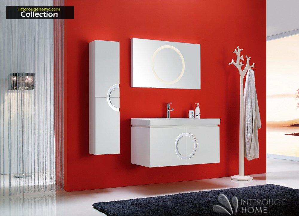 interougehome–Möbel Set Badezimmer High-End Design avrore einfach Waschtisch mit integrierter Beleuchtung-System Farbe Weiß–Spiegel mit integrierter Beleuchtung–Waschtisch–Waschtisch–Aufbewahrungseinheit–1Mischbatterien, 1Ablaufgarnitur und 2flexible angeboten