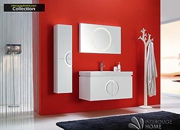interougehome ensemble de meubles de salle de bain haut de gamme design avrore simple vasque