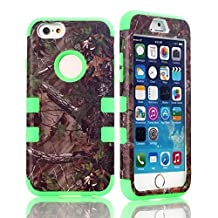 "iPhone 6S Case , Gefee® Dual Layer Defender High Impact Realtree Camouflage Camo Hybrid Hard Soft Case Cover for iphone 6 / iPhone 6S 4.7"" (Green)"