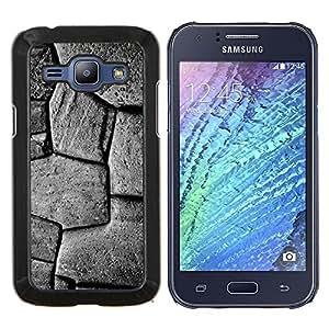Stuss Case / Funda Carcasa protectora - Patrón Piedra Edificio Negro Blanco - Samsung Galaxy J1 J100