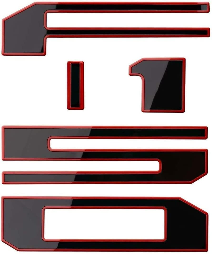 Tailgate Insert Emblem 3D Raised Car Letter Sticker with Adhesive Tape Compatible with F150 2018-19 Accessories(black and Red Edge)