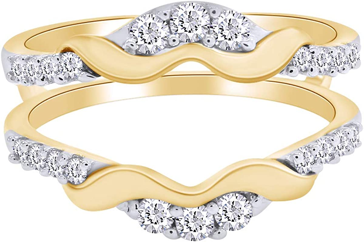 Round Cubic Zirconia Anniversary Wedding Band Enhancer Guard Double Ring in 14K Gold Over Sterling Silver for Women ctw AFFY 1.00 Carat