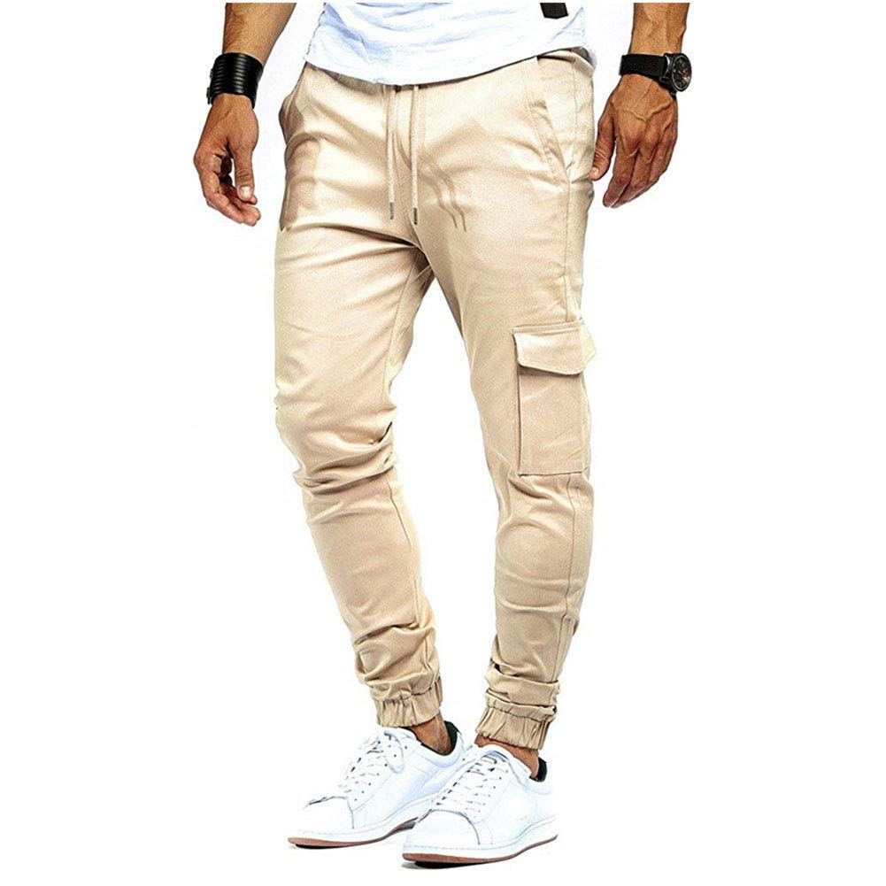 Men's Skinny Long Pants Casual Slim Fit Solid Colour Drawstring Slack Bottoms Sweatpants Gym Jogger Fitness Trouser with Pockets