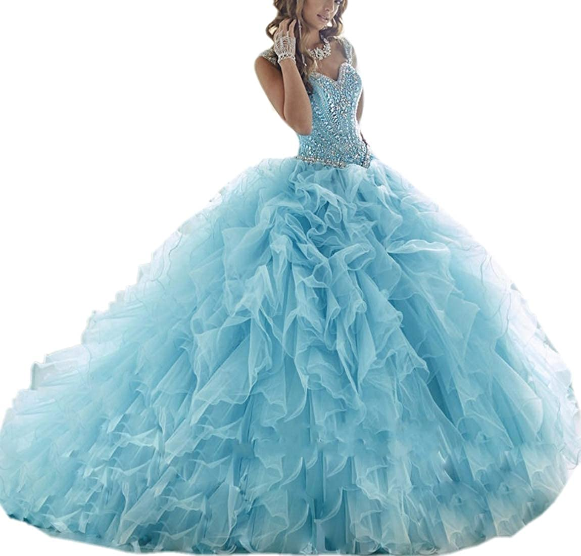 bluee APXPF Women's Crystals Beaded Organza Ruffle Quinceanera Dress Sweet 16 Ball Gown Prom Dress