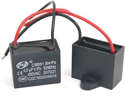 DollaTek 2Pcs CBB61 4uF 450V AC 50/60Hz Condensador Corriente del ...
