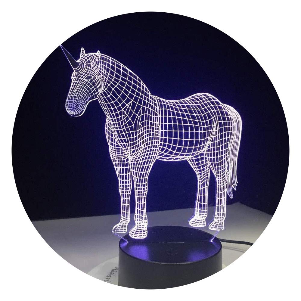 JINXUXIONGDI Visual Stereo Vision Unicorn 3D with Night Light 7 Color Lamp Home Decoration Lamp Amazing Visual Optical Illusion Awesome Hologram Children's Decoration