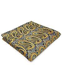 Shlax&Wing Paisley Yellow Blue Mens Pocket Square Hanky Handkerchief Silk