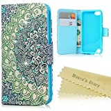 Touch 6 & 5 Wallet Case - Mavis's Diary Bling 3D Handmade Diamonds Rhinestone Gems PU Leather Magnetic Closure Flip Cover with Colorful Totem Flower Pattern for iPod Touch 5th/6th Generation