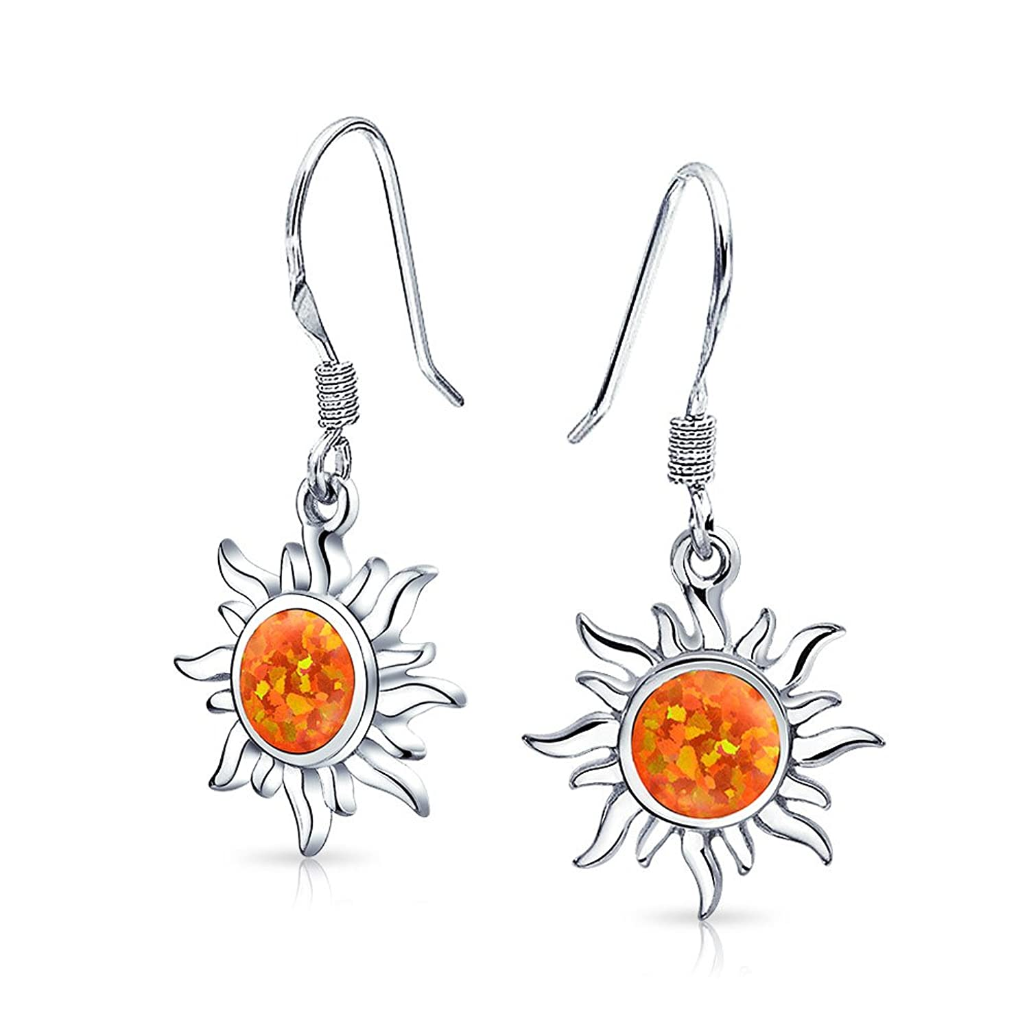 Bling Jewelry .925 Sterling Silver Synthetic Orange Fire Opal Sun Dangle Earrings Rhodium Plated