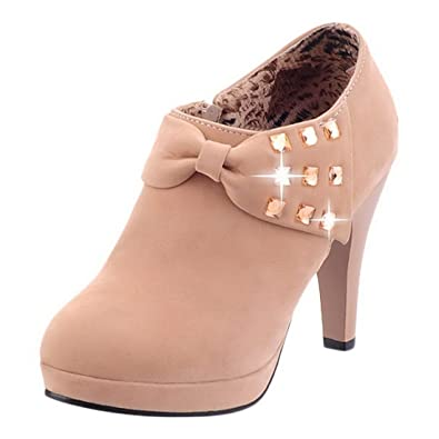 Women's High Heels Ankle Boots Platform Pumps Autumn Winter Casual Shoes