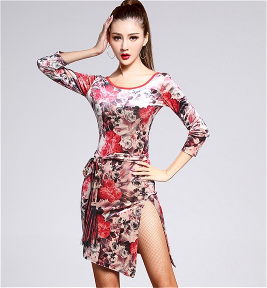 Flower peiwen Formation en Danse Latine Femme Professionnelle Robe vêtements de Danse XL