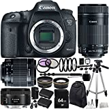 Canon EOS 7D Mark II DSLR Camera w/ EF-S 18-55mm f/3.5-5.6 IS STM Lens & EF-S 55-250mm f/4-5.6 IS STM Lens + EF 50mm f/1.8 STM Lens 64GB Bundle 29PC Accessory Kit. Includes 64 GB Memory Card + High Speed Memory Card Reader + MORE - International Version (No Warranty)