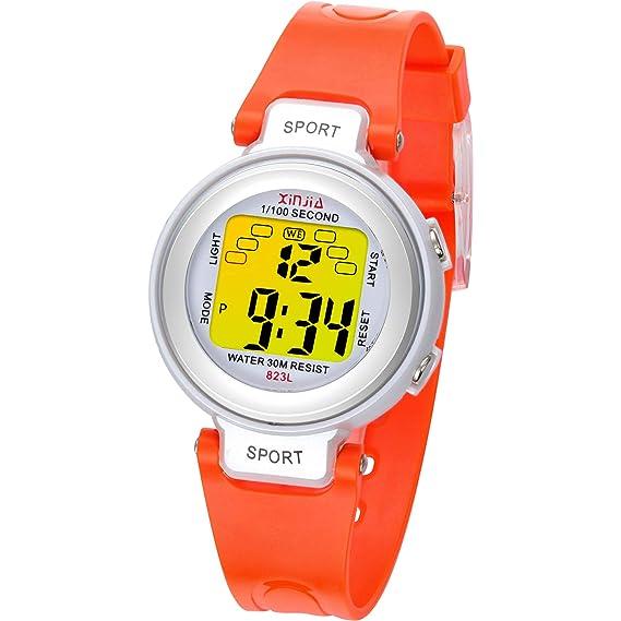 Reloj Digital para niños, 7 Colores de luz LED, Reloj de ...