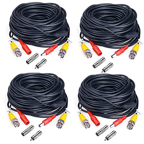 Coaxial Cable Rca Connector (JZTEK 4 Pack 60 Feet BNC Video Power Cable Pre-made All-in-One Plug and Play Combo Coaxial Cable with 8pcs BNC to RCA Connectors for HD 1080P/960P/720P, 1200TVL, TVI, CVI, AHD Analog Camera (Black))